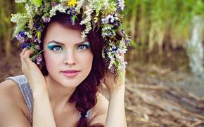 Картинка лето, трава, девушка, цветы, макияж, венок