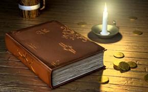 Картинка свеча, фэнтези, арт, книга, монеты, Tavern, Ozan Temelli