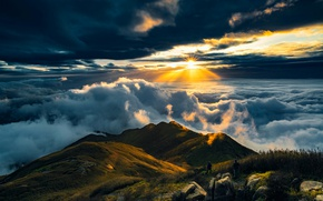 Картинка Sun, Mountain, View, Travel, Cloud, Rise