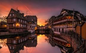 Картинка река, дома, Страсбург