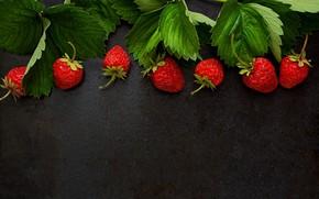 Обои листья, клубника, ягоды