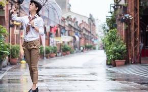 Картинка девушка, улица, зонт