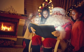 Обои new year, книга, камин, Санта Клаус, дети, девочкм