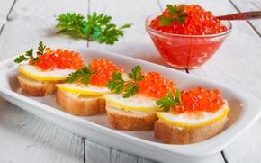 Картинка лимон, хлеб, петрушка, красная икра, бутеброды