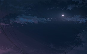 Картинка небо, ночь, луна, лэп, K.Hati