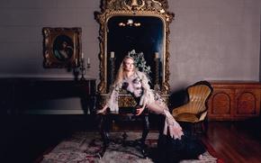 Картинка пианино, фотосессия, Yu Tsai, канделябр, зеркало, яблоко, макияж, красотка, актриса, блондинка, стол, Nicole Kidman, картина, ...