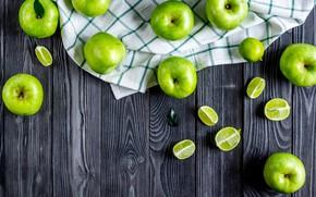Картинка яблоки, зеленые, лайм, фрукты, витамины