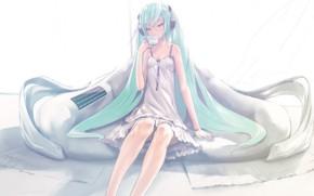Картинка диван, наушники, чашка, vocaloid, hatsune miku, длинные волосы, вокалоид, белый сарафан