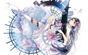 Картинка дома, чулки, сапоги, автомат, невеста, фата, наручники, art, свадебное платье, оборки, Kei Sakuragi