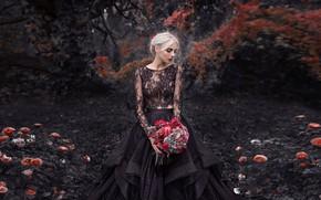 Картинка девушка, цветы, поза, парк, настроение, розы, букет, платье, Damien Prokhorov