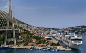 Обои Дубровник, причал, лайнер, опора, панорама, дома, Хорватия, мост, корабль