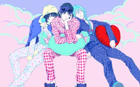 Картинка DRAMAtical Murder, Fanart, Pixiv, Fanart From Pixiv, Seragaki Aoba, Seragaki Sei, Ren (Human), Sleep Mask, …