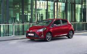 Картинка красный, red, Toyota, автомобиль, шикарный, metallic, Yaris hybrid