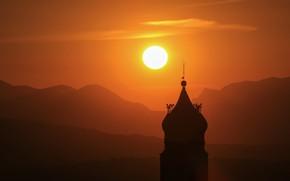 Картинка солнце, закат, башня
