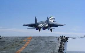 Картинка самолет, Су-33, авианесущий корабль, полеты авиации