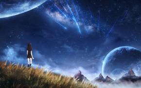 Картинка девушка, космос, природа, CZY