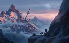 Обои skull, moon, sword, fantasy, sky, weapon, mountains, clouds, snow, man, explorer, artwork, bones, fantasy art, ...