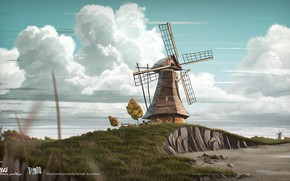 Картинка трава, облака, мельница, пригорок, Gus - Petit Oiseau Grand Voyage