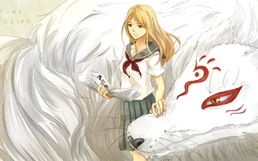 Картинка девушка, улыбка, аниме, форма, школьница, madara, Natsume Yuujinchou, тетрадь дружбы Нацумэ, nyanko-sensei, nhibii, natsume reiko