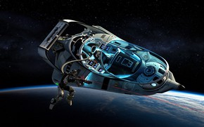 Картинка планета, космонавт, лазер, летательный аппарат, Orbital Drive By