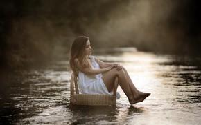 Обои девушка, река, кресло, Laulights