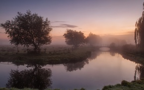 Картинка небо, трава, облака, деревья, мост, туман, река, забор