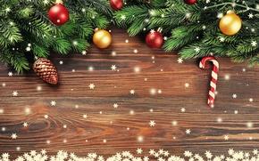 Картинка Новый Год, Ветки, Шарики, Снежинки, Шишки, Шаблон