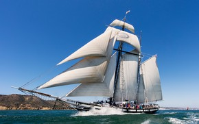 Обои San Diego Bay, Калифорния, шхуна, Tall Ship Californian, Залив Сан-Диего, паруса, Californian, море, парусник, California