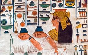 Обои Иероглифы, стена, краски, Египет, древность