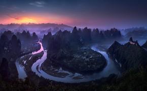 Картинка река, вечер, утро, Китай