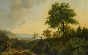 Картинка пейзаж, картина, холст, Горы Гарца, Cornelis Francois Roos