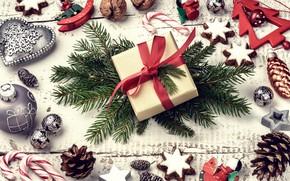 Картинка украшения, елка, Новый Год, печенье, Рождество, подарки, орехи, happy, Christmas, шишки, New Year, Merry Christmas, …