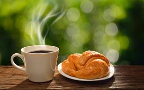 Обои кофе, завтрак, утро, чашка, hot, coffee cup, good morning, breakfast, круассан