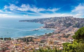 Обои city, город, побережье, Италия, Italy, coast, panorama, Europe, view, cityscape, Naples, Неаполь, travel, Sorrento