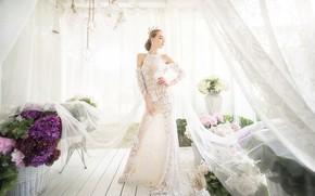Картинка цветы, лицо, стиль, фон, модель, фигура, платье, ткань, занавески