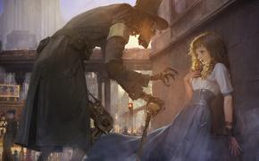 Обои fantasy, robot, gear, future, buildings, girl, city, fantasy art, Steampunk, painting, futuristic, artwork