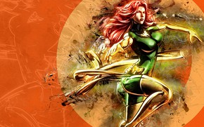 Картинка fantasy, X-Men, phoenix, Marvel, comics, digital art, artwork, superhero, fantasy art, Jean Grey