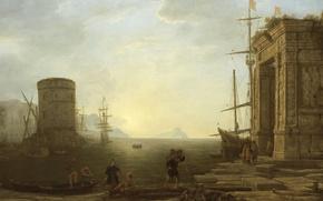 Картинка пейзаж, картина, Клод Лоррен, Вид на Гавань на Восходе Солнца