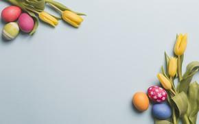 Картинка цветы, яйца, пасха, тюльпаны, Праздник