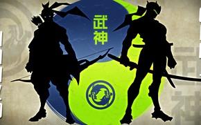 Картинка game, katana, blade, dragon, samurai, ninja, asian, shinobi, kanji, Overwatch, japonese, Genji, jen, Hazo