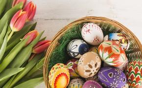 Картинка Цветы, весна, Тюльпаны, Пасха, Яйца, Праздник