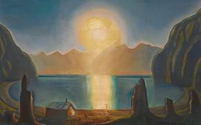 Картинка море, пейзаж, горы, картина, Rockwell Kent, Рокуэлл Кент, Внутири Солнца