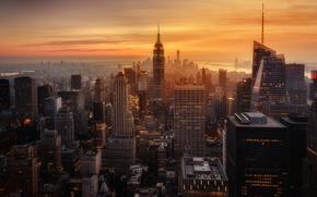Картинка закат, город, вечер, дымка, США, Нью - Йорк
