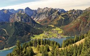 Картинка лес, небо, солнце, деревья, горы, река, дома, Австрия, долина, панорама, вид сверху, Tirol, Pertisau