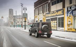 Картинка снег, улица, здания, Mercedes-Benz, тротуар, 2018, G-Class