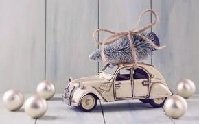 Картинка украшения, шары, игрушки, елка, Новый Год, Рождество, машинка, happy, Christmas, vintage, New Year, Merry Christmas, …