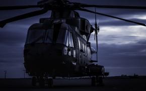 Картинка авиация, ночь, вертолет, аэродром, AgustaWestland, AW101 Merlin