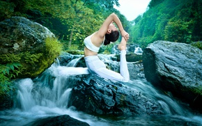 Картинка девушка, природа, поза, гимнастика, йога, азиатка