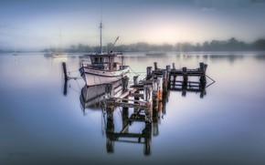 Обои корабль, мост, озеро