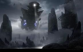 Картинка скалы, корабль, луч, прибой, Descent